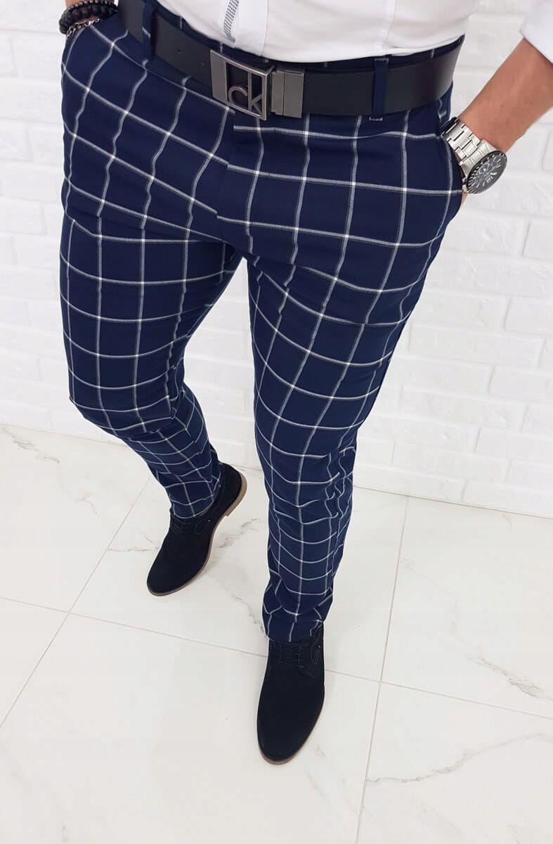 Granatowe Eleganckie Spodnie W Krate 1182 36 8322380054 Oficjalne Archiwum Allegro Mens Plaid Pants Mens Outfits Mens Plaid