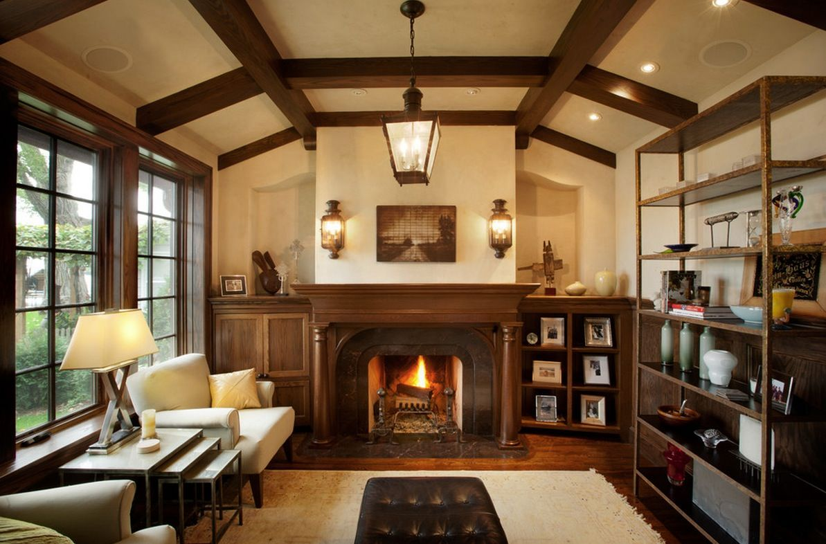 Wonderful Ways To Bring Tudor Style Details In Your House Marvelous Living Room Interior With Traditional Used Fireplace And Rustic