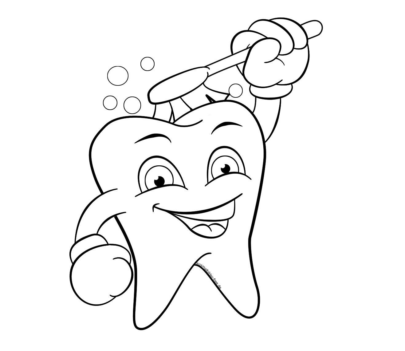 Zahn Ausmalbild Zum Ausdrucken Bilder Kostenlos Ausmalen