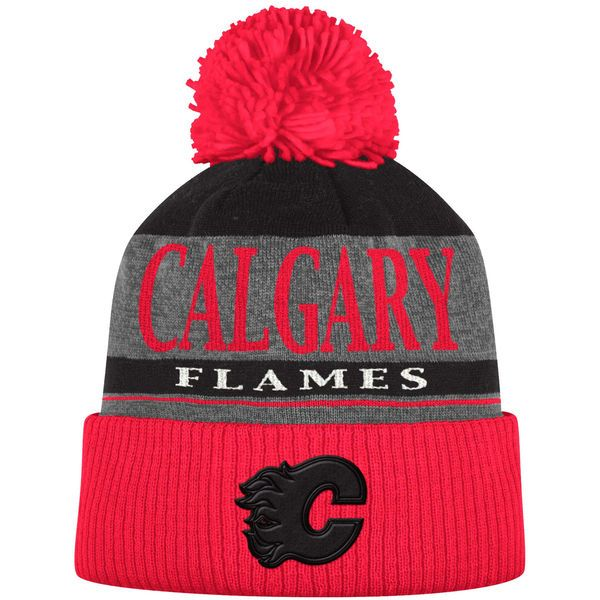 67f3cf04cd1 Men s Calgary Flames adidas Heathered Gray Red Cuffed Knit Hat with ...