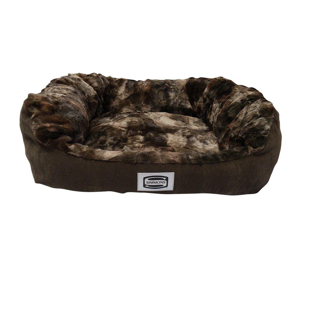 Simmons supreme sleep chocolate washable dog bed plush