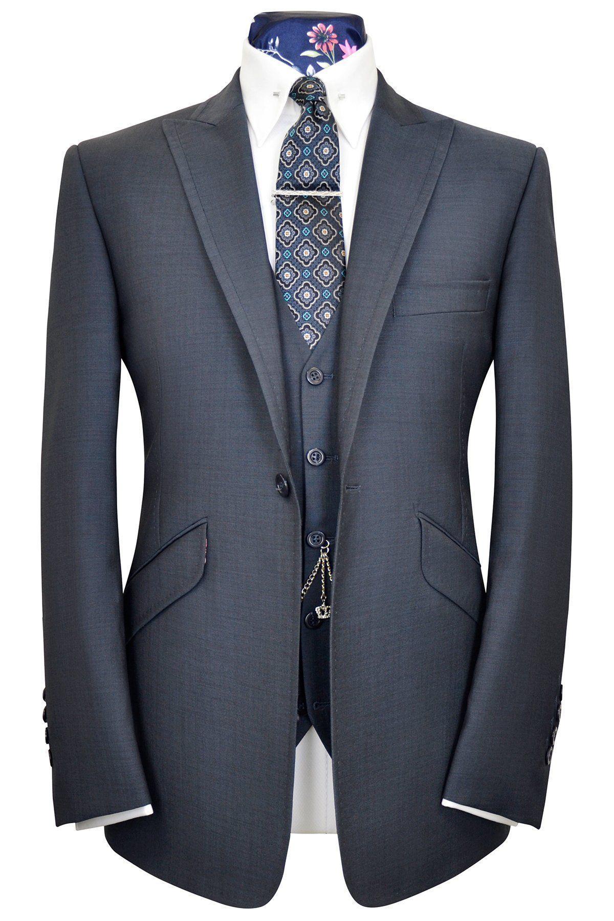 Slate Blue Three Piece Peak Lapel Suit Wh Suits Pinterest