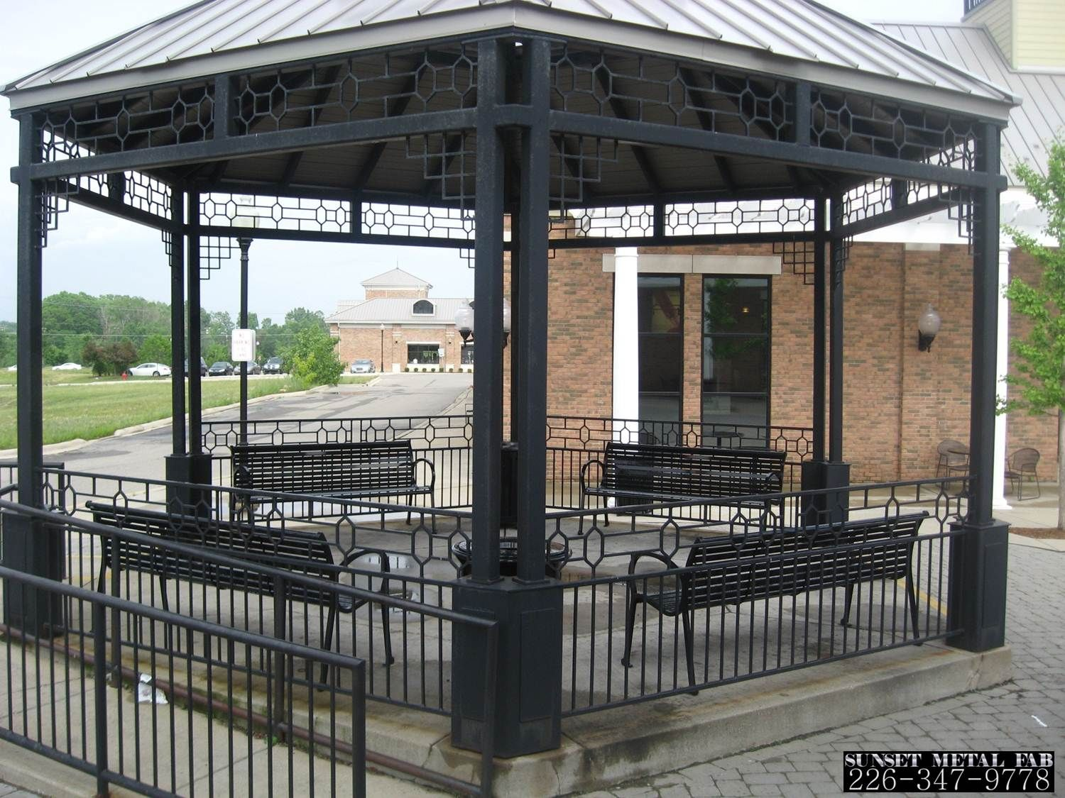 Decorative metal elements stainless springfield steel for Metal frame pergola designs