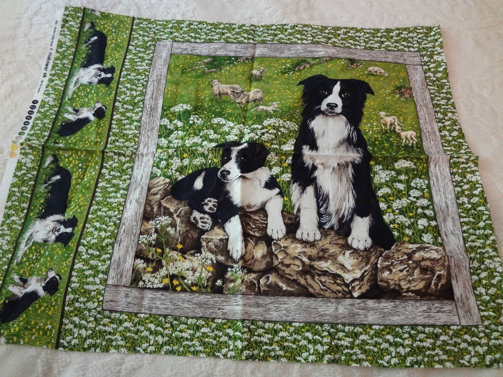 Sewing Quilting Black And White Border Collie Dog Panel