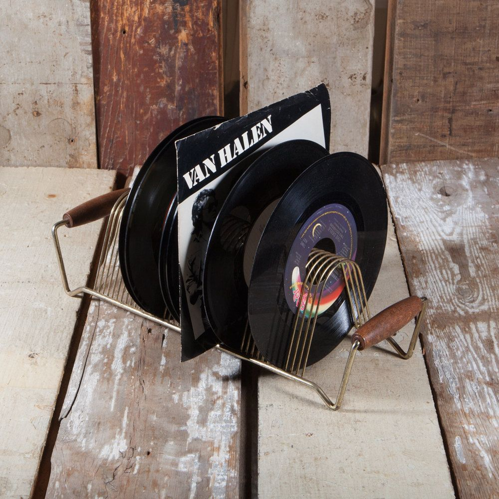 Mini 45 12 inch Record Holder - Vintage Metal Wood
