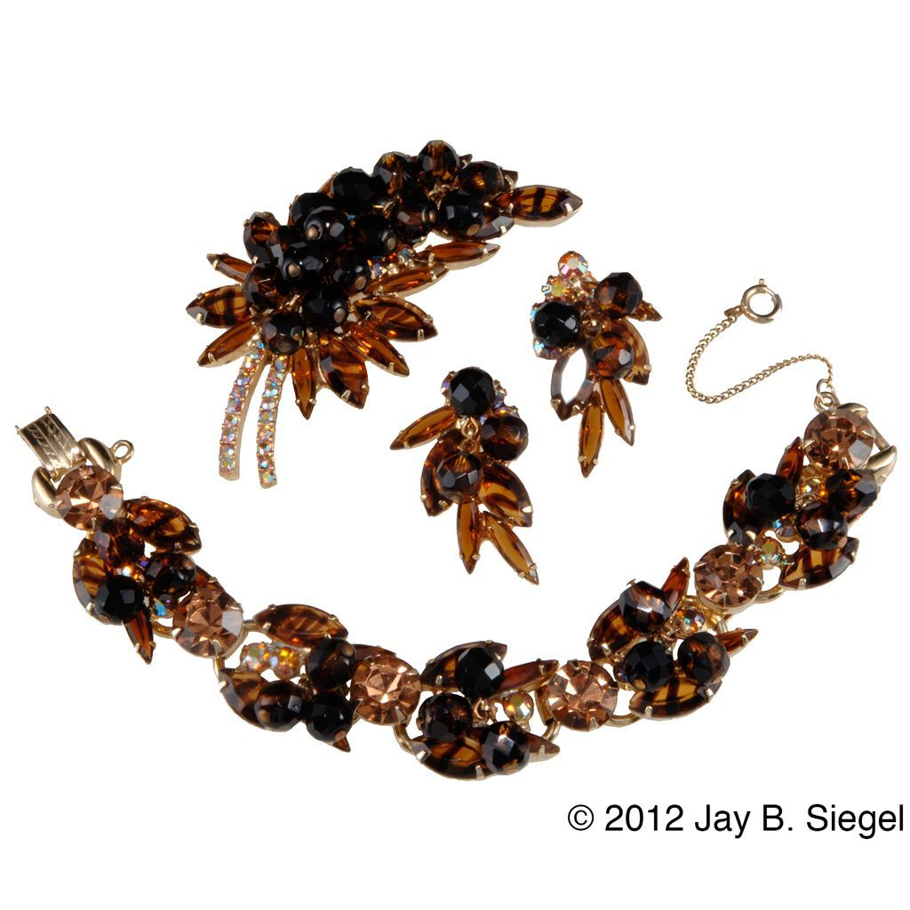 Juliana Brown Tiger Stripe Bracelet Brooch & Earrings Set