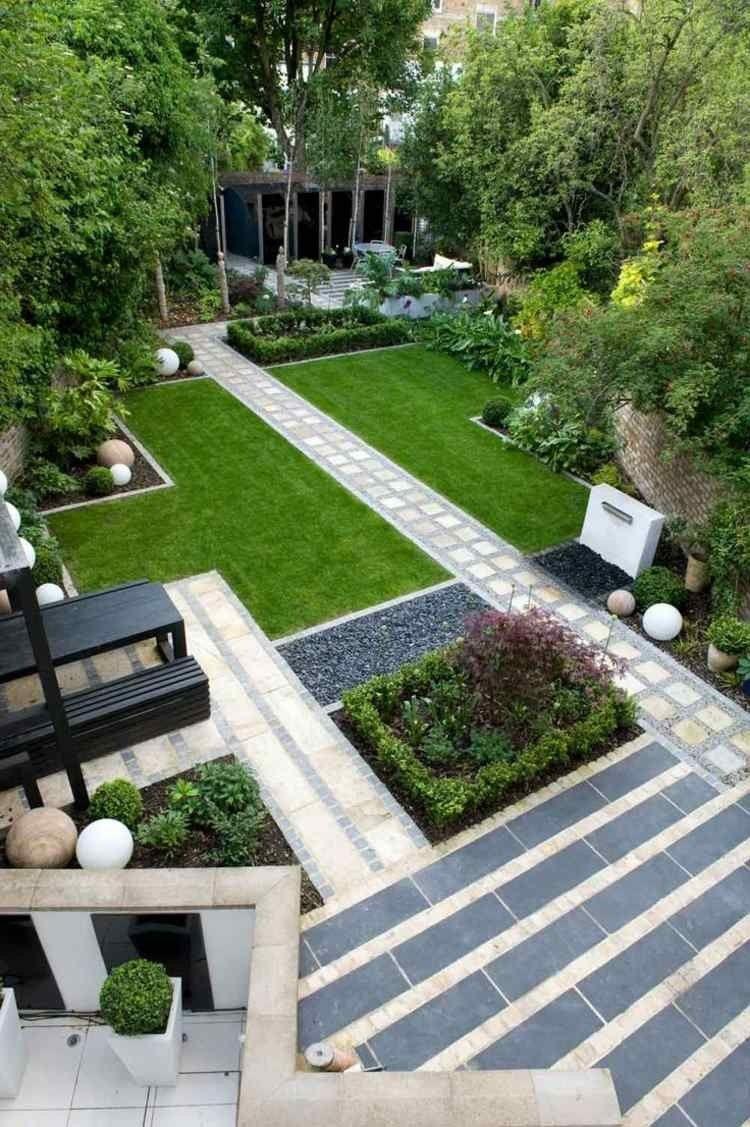 Jardin Moderne Avec Galet Parterre Gravier Simple Modele De