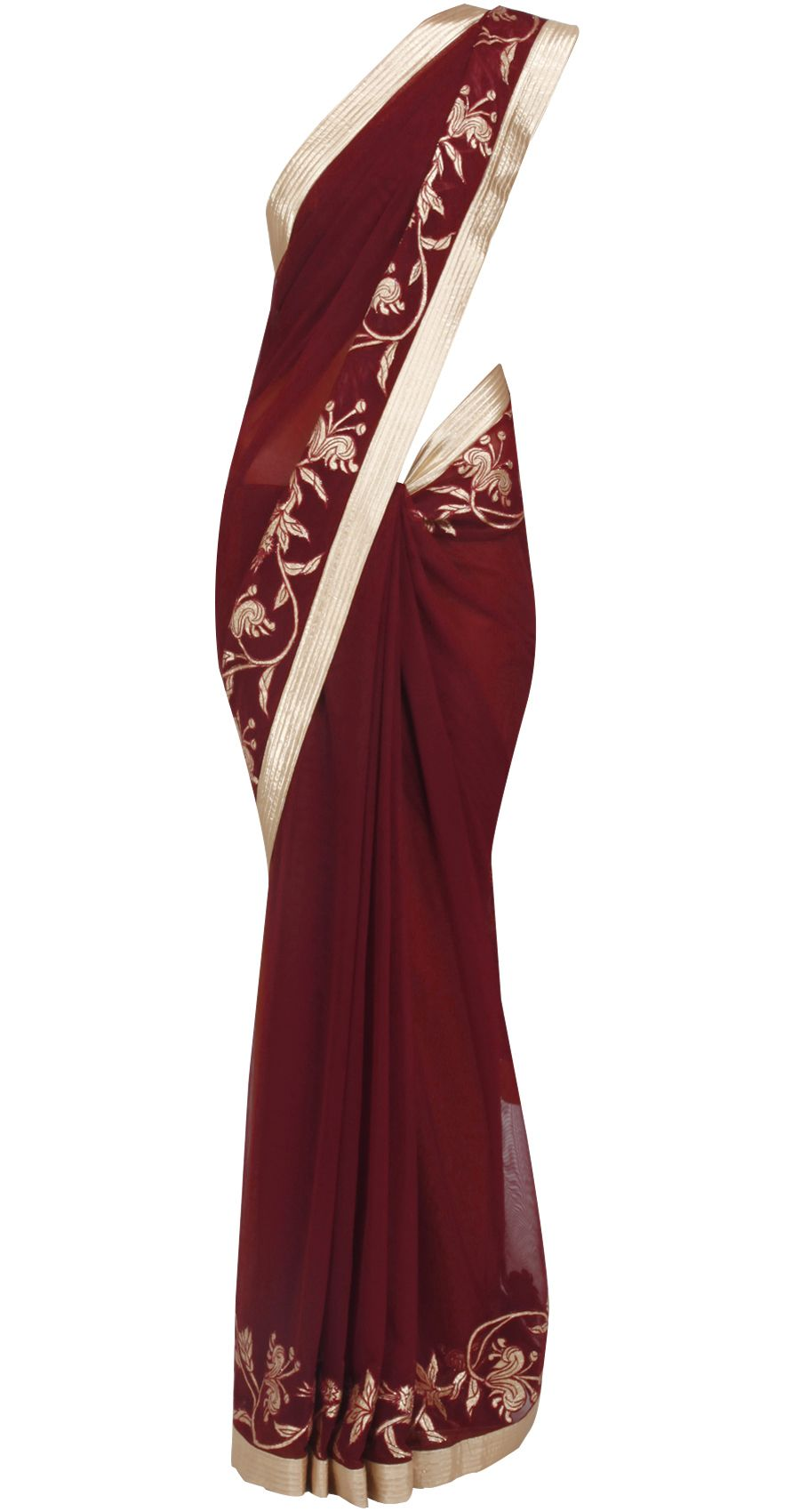 Wine Net Sari With Lurex Applique Available Only At Pernia S Pop Up Shop Indian Outfits Fancy Sarees Indian Fashion