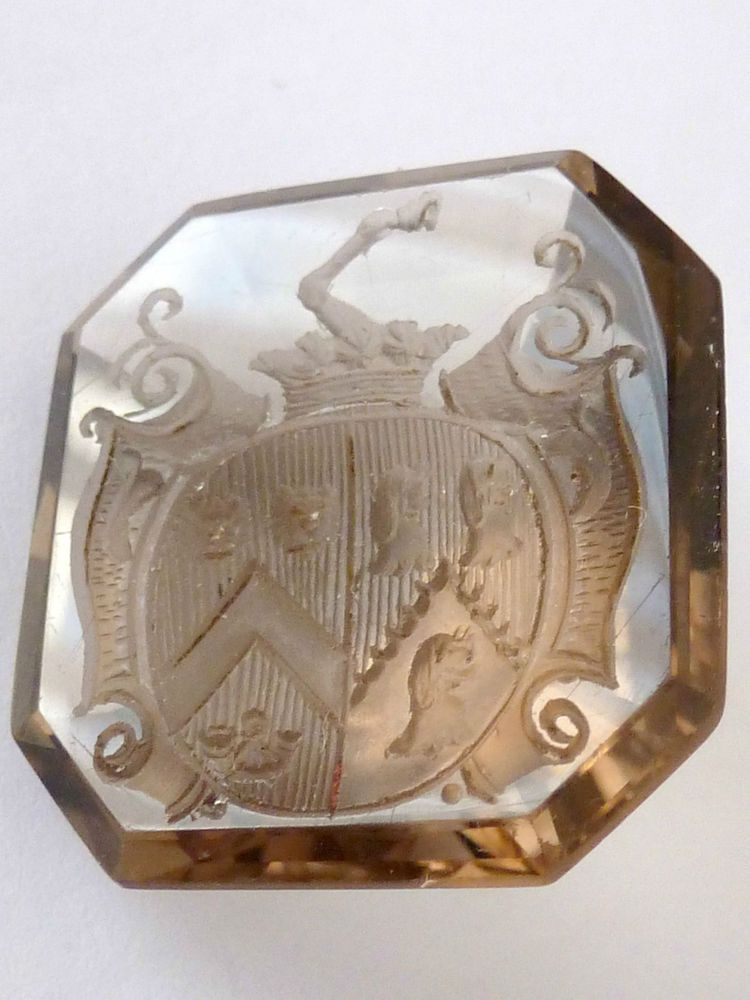 VICTORIAN QUARTZ INTAGLIO SEAL SHIELD FAMILY CREST LION DOG HUNTING HORN HOOF #NotApplicable
