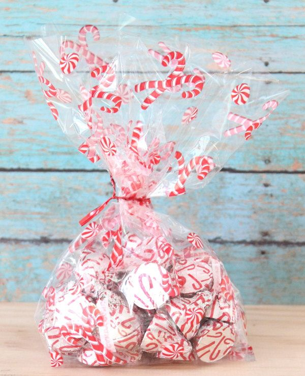 Candycane Cellophane Bag Set Of 12 Christmas Bags Gift Clear Treat By Glittersaay On