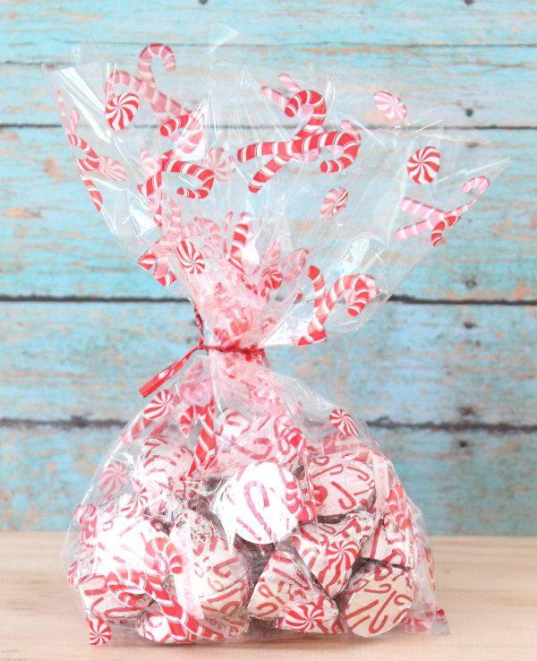 Candycane Cellophane Bag Set Of 12 Christmas Cellophane