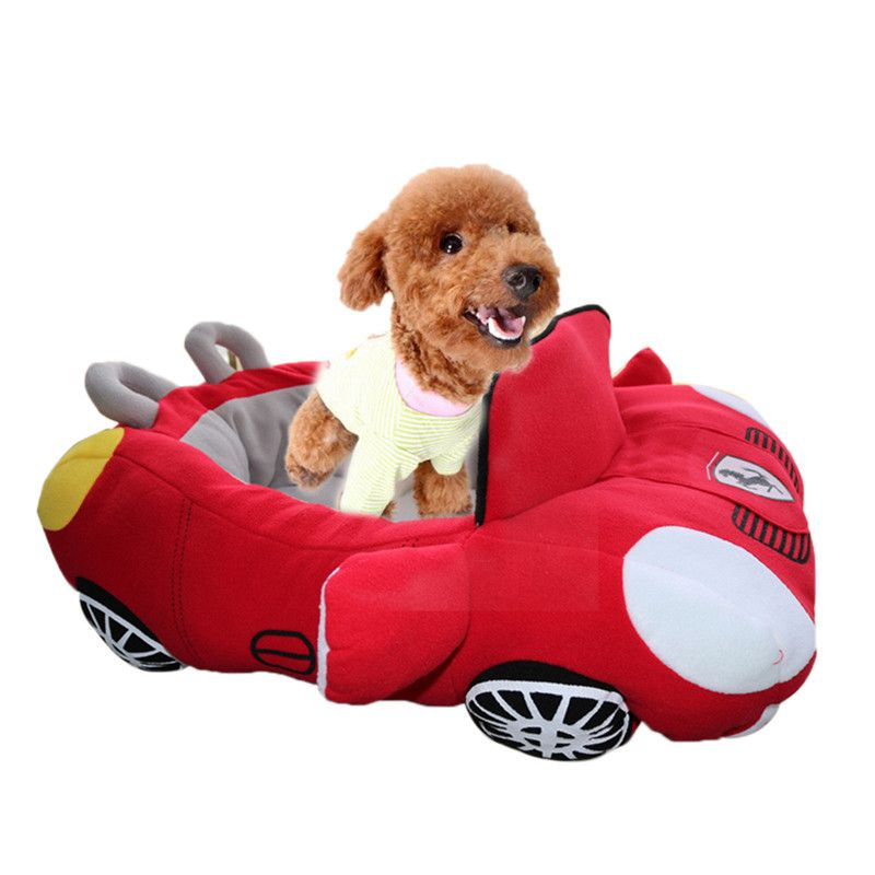 Car Shaped Warm Comfortable Red Black Puppy Pet Cat Dog Bed Dog House Kennel For Dogs Cats Pet Supplies Products Cute Dog Beds Cat Pet Supplies Fleece Dog Bed