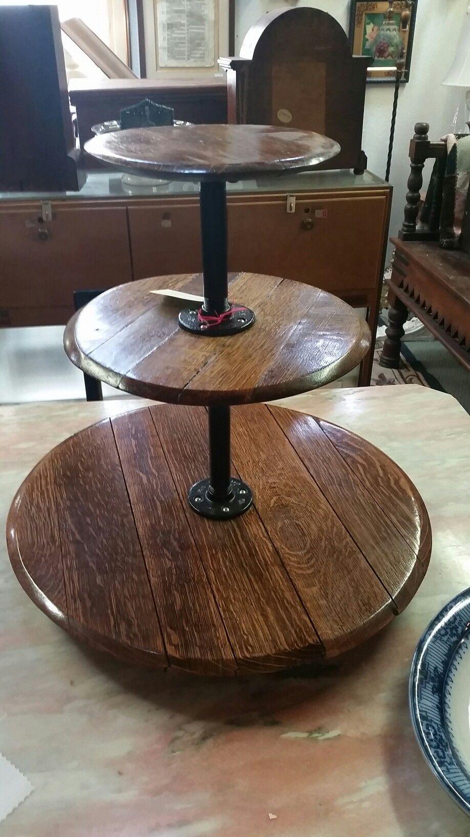 3 tier wine barrel lazy susan 3