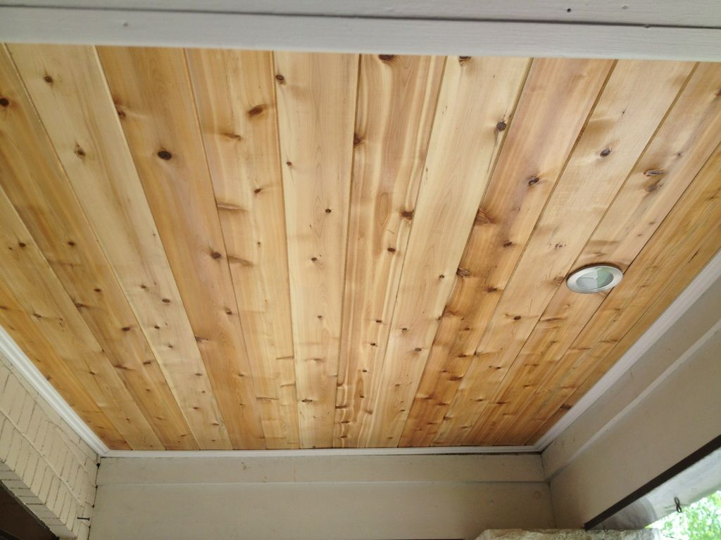 Porch ceiling rejuvenation tongue and groove cedar with for Tongue and groove roof