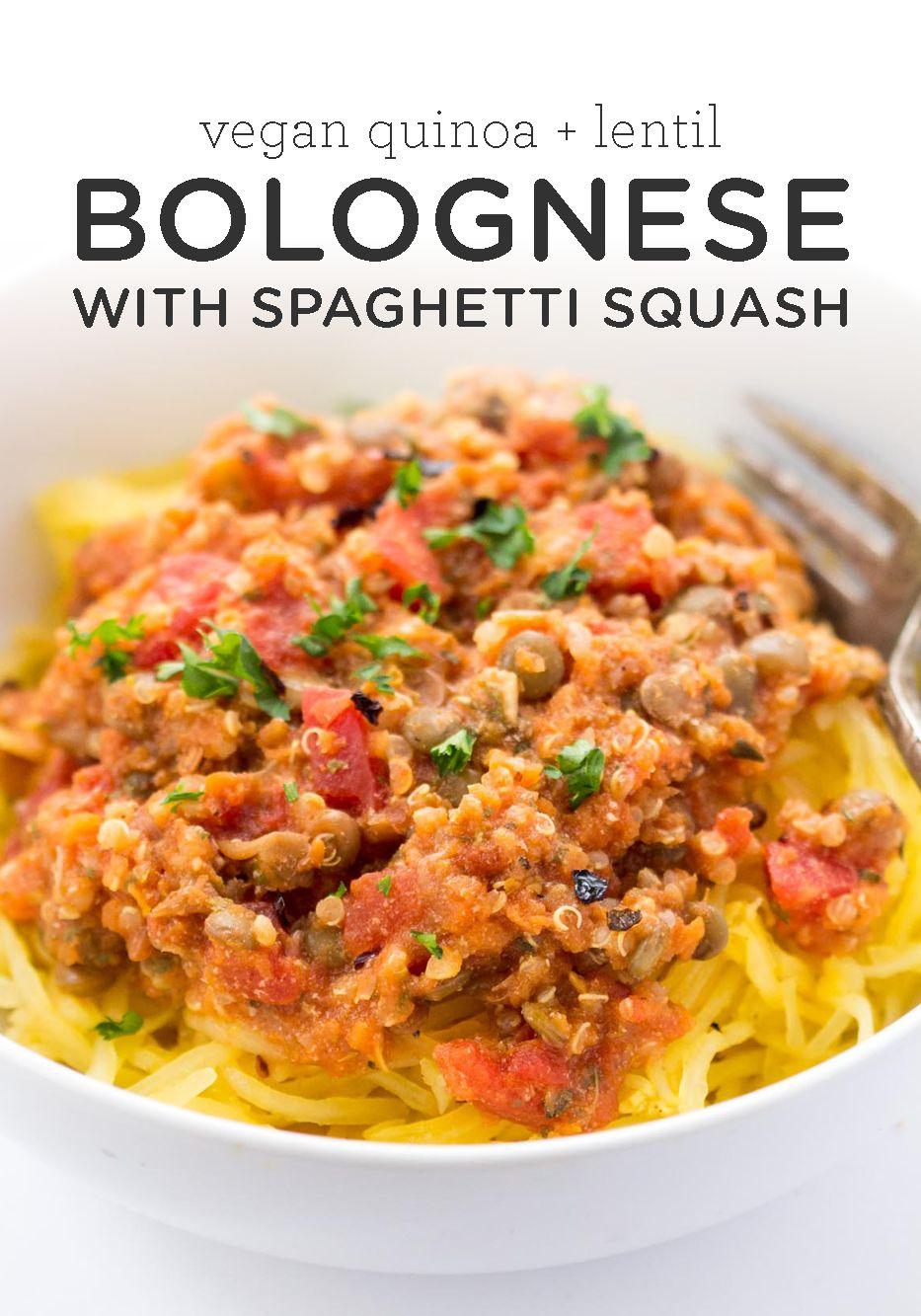 Quinoa Lentil Bolognese With Spaghetti Squash
