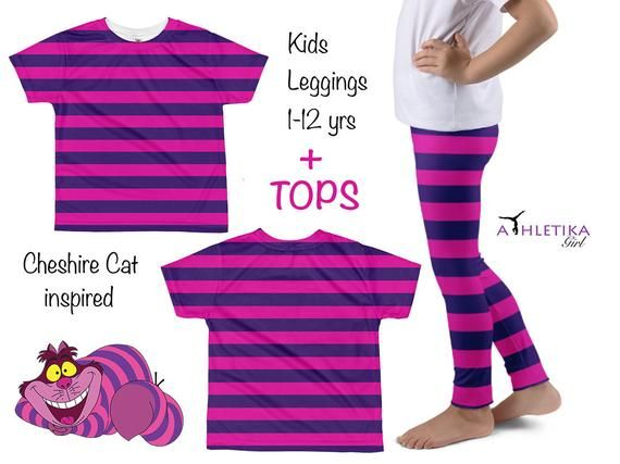 e4e8cd59c Disney Cheshire Cat Kids Leggings Costume Shirt Set Toddler Alice  Wonderland Striped Pants Baby Outf