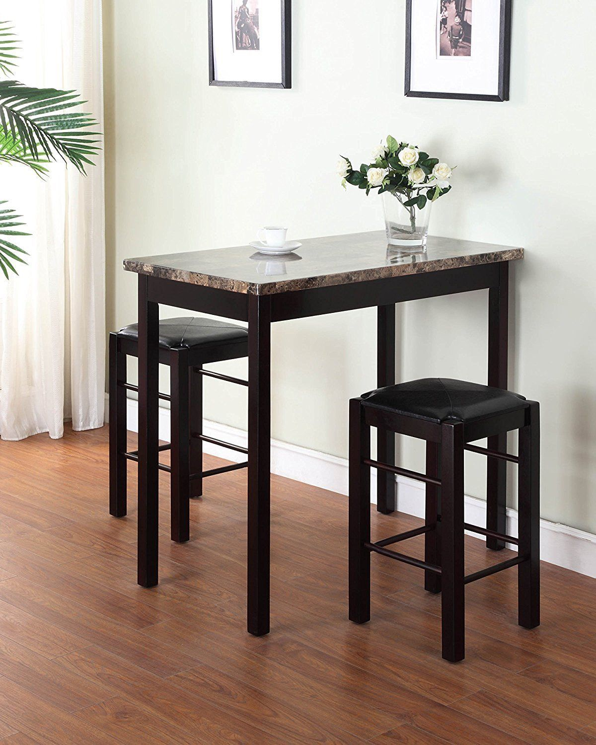 Bar height dining set breakfast with stools 3 piece pub faux marble table nook