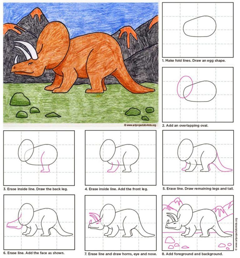 Draw a Triceratops #dinosaur