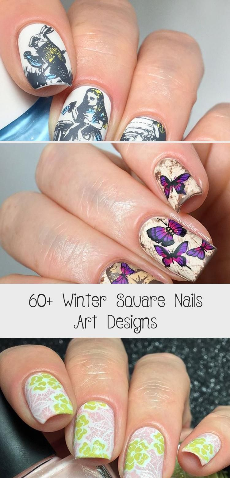 60+ Winter Square Nails Art Designs – Tattoos –  First tempt to make Tattoos on …