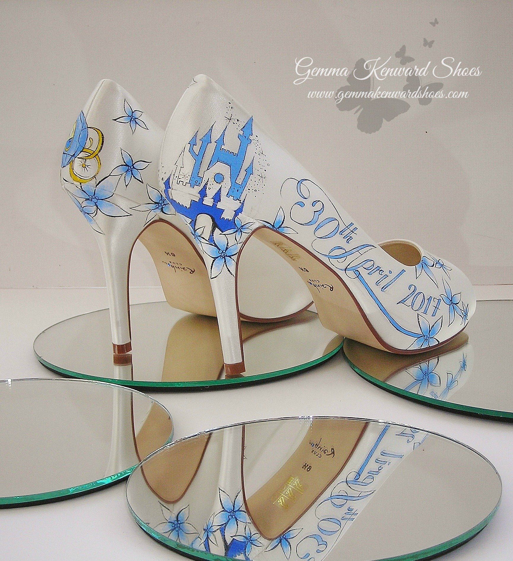 Hand Painted Wedding Shoes With A Cinderella Theme Shoes Wedding Cinderella Disney Disneywedding Bride Brid Bride Shoes Painted Shoes Hand Painted Shoes