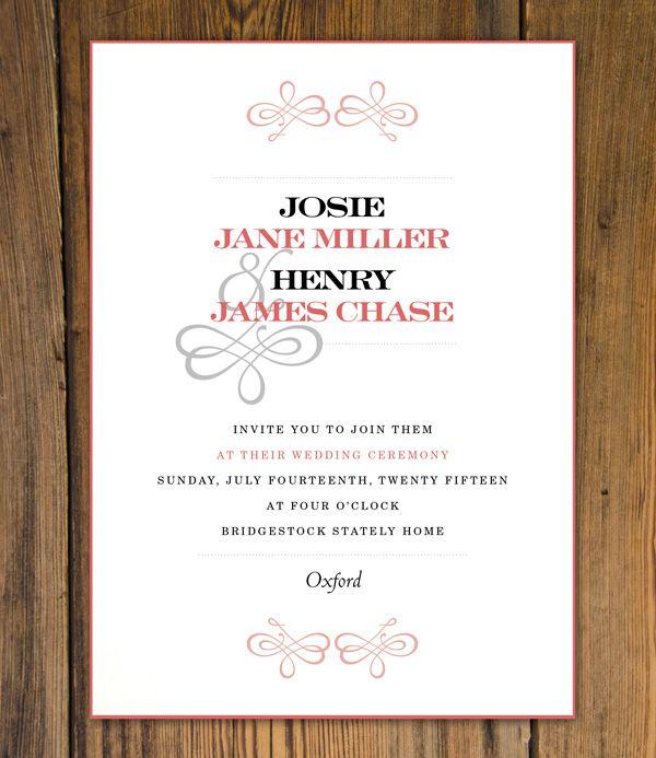 Wedding Invitation Design Elegant Ornate