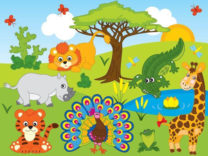 70 Off Sale Jungle Animals Clipart Digital Vector Safari Animals African Jungle Animals Clip Art Animal Clipart Jungle Animals Safari Animals