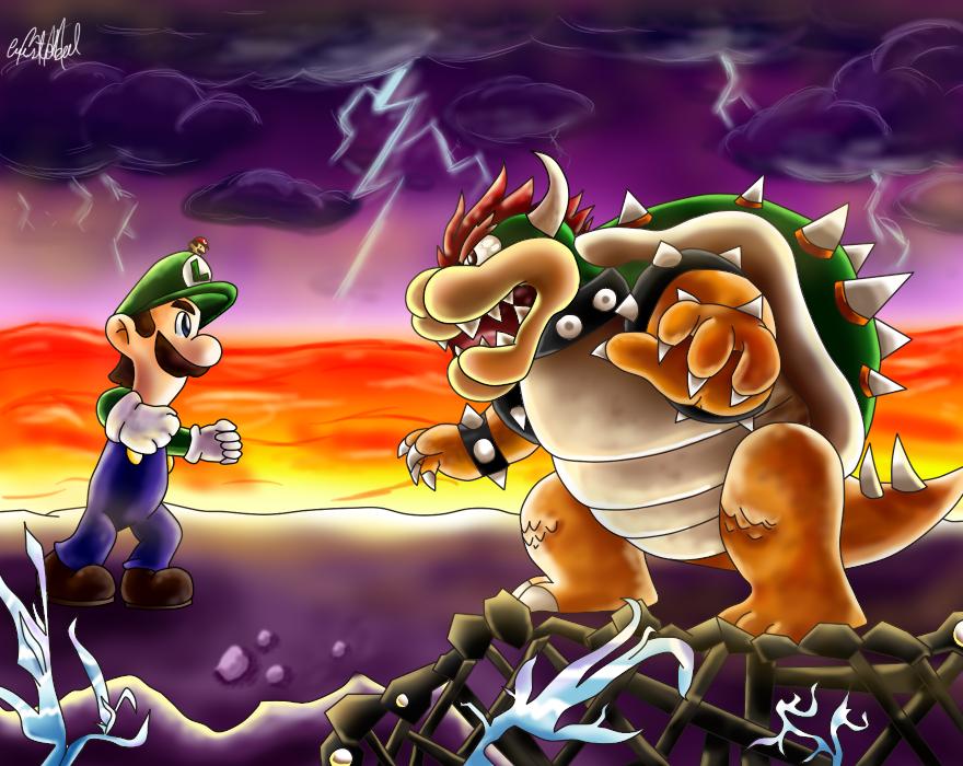Giant Showdown Luigi Vs Bowser By Chris900jdeviantartcom On
