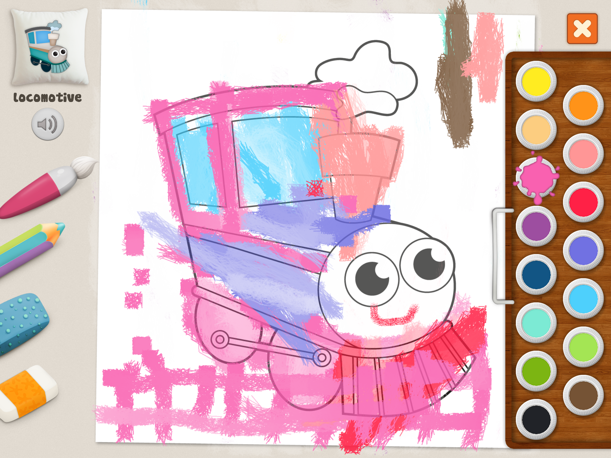 Locomotive Coloring Pages Memollow App For Kids Pin Art Coloring Pages Color