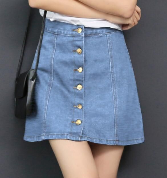 90c81489a Fashion Women High Waist Slim Short Skirt Ladies Button A-Line Denim Shirt