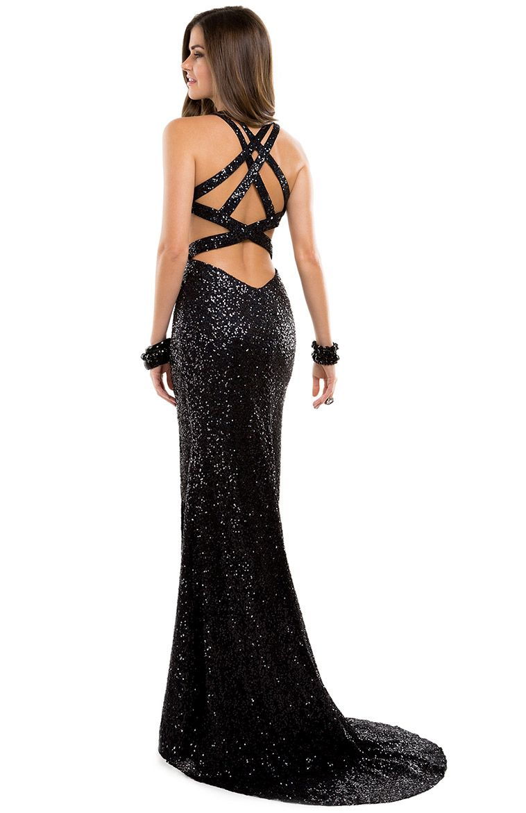Allover sequins sheath dress with side cutouts u sexy side slit