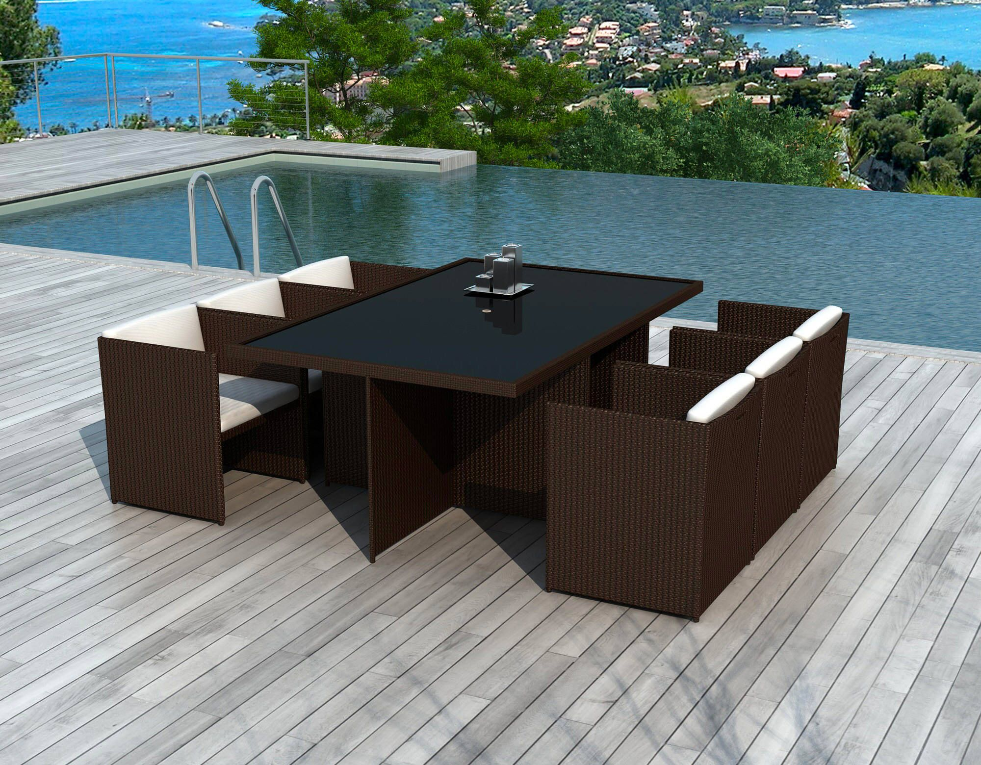 x6 Fauteuils + tables jardin DELORM CHOCO | Delorm | Marron ...