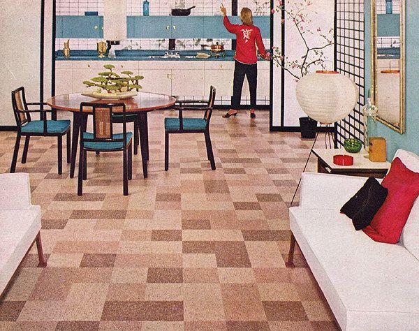 1950s Ad Bakelite Vinyl Resin Floor Tile Mid Century Modern Vintage Interior Mid Century Modern Interior Design Mid Century Modern Interiors Kitchen Flooring