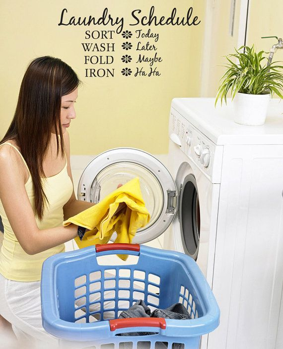 Laundry Room Funny Schedule Vinyl Wall Lettering Quotes v199 ...