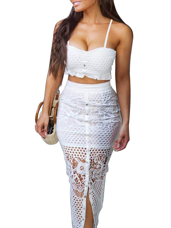 D Jill Women S 2 Piece Lace Outfit Dress Button Down Cami Crop Top