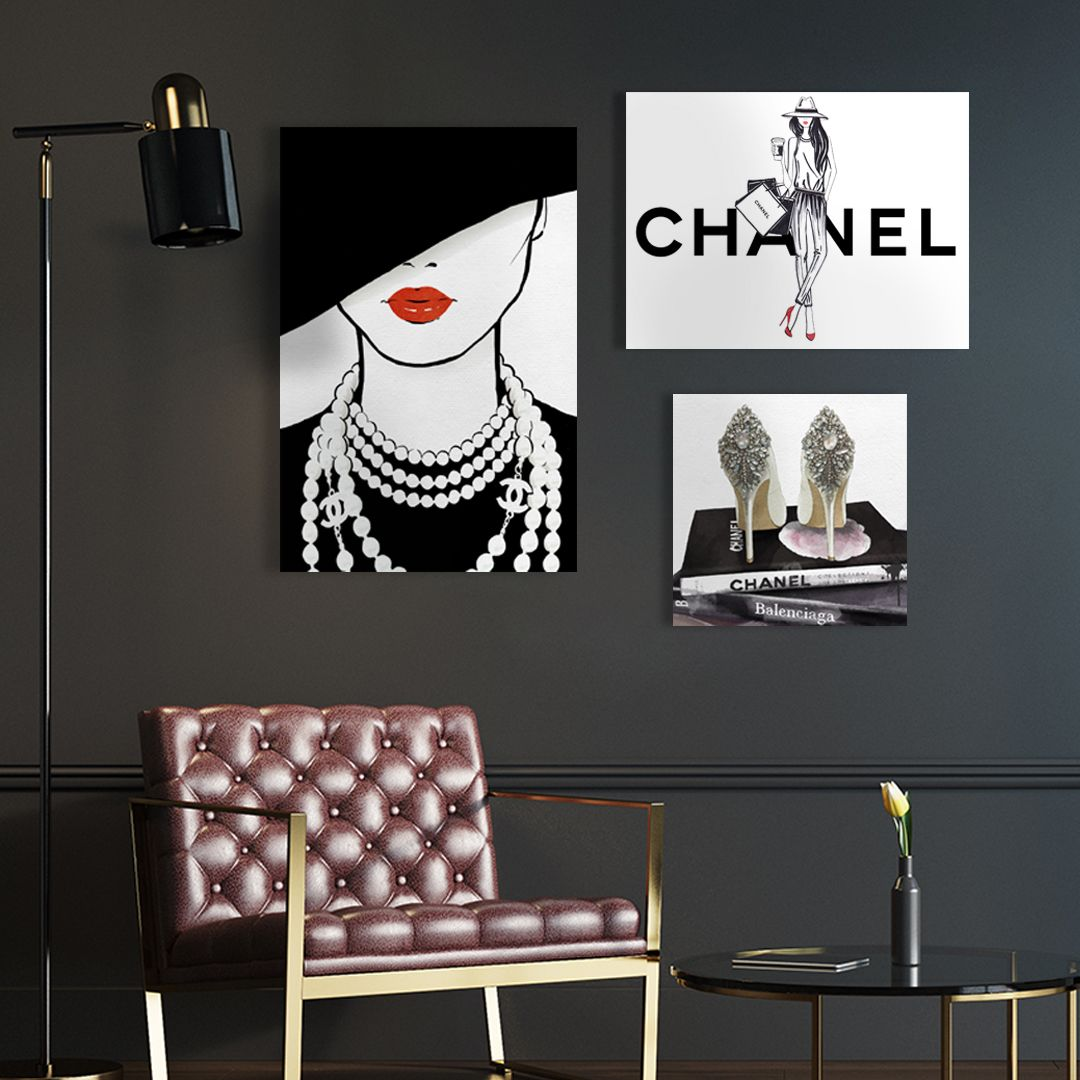 Gallery Wall Inspired By Chanel Fashion Wall Art Glam Wall Decor Room Wall Art