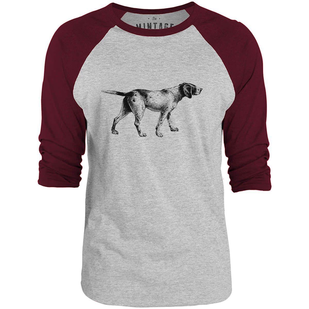 Mintage English Pointer 3/4-Sleeve Raglan Baseball T-Shirt (Grey Marle / Bordeaux)