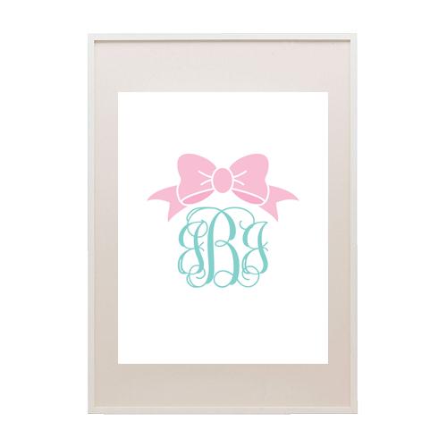 bow monogram  light pink