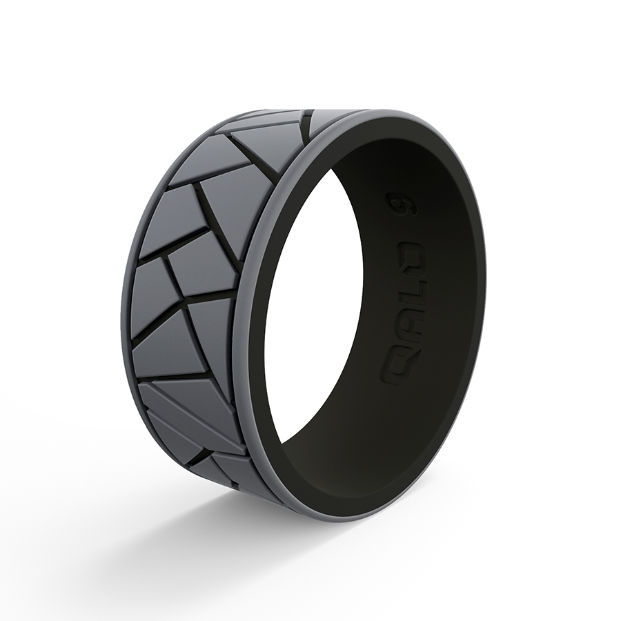 Mens Black Enement Rings | Men S Strata Dale And Amy Earnhardt Grey And Black Silicone Ring