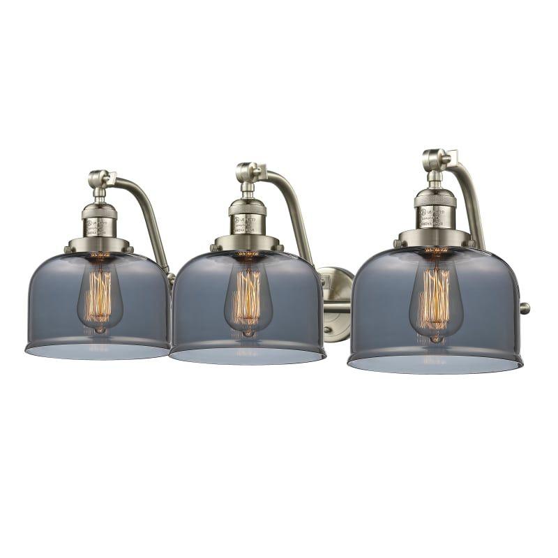 Photo of Innovations Lighting 515-3W Large Bell Large Bell 3 Light 28″ Wide Bathroom Vani Satin Brushed Nickel / Smoked Indoor Lighting Bathroom Fixtures