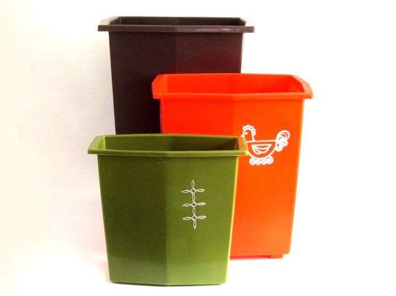 Plastic Kitchen Trash Cans Bathroom Waste Basket 1970s 1980s ...
