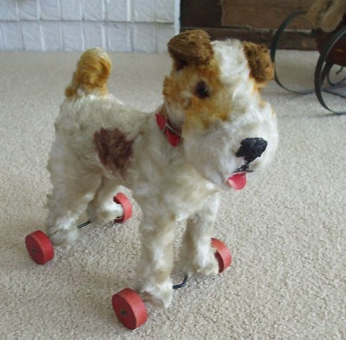 Pull Toy Fox Terrier Mohair Dog On Wheels Vintage English Hermann