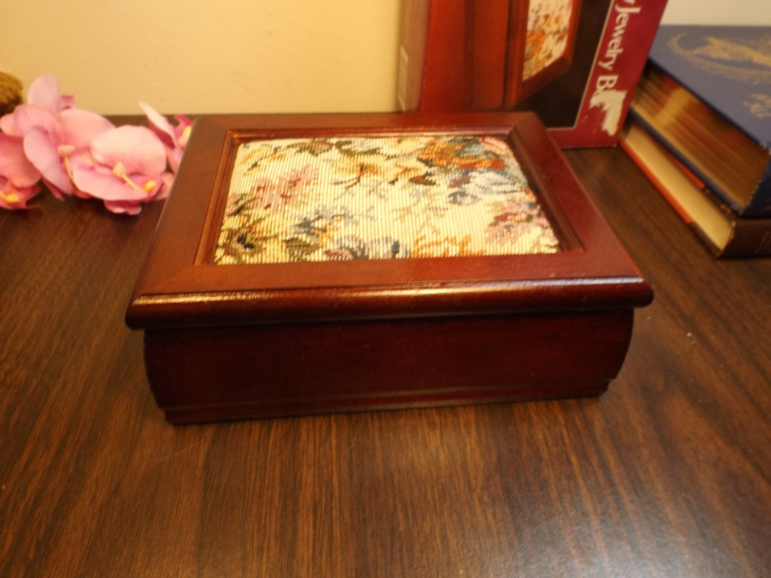 Wooden Ladies Cherry finish Jewelry box Tapestry FlipUp lid