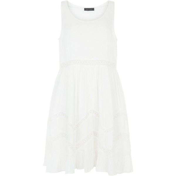 New Look Cream Lace Trim Smock Dress ($25) ❤ liked on Polyvore featuring dresses, winter white, sleeveless summer dresses, mini dress, sleeveless dress, smock dress and ivory dress