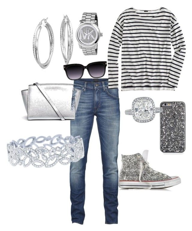 Diamonds are a girl's best friend by sassyzanne on Polyvore featuring polyvore, fashion, style, J.Crew, Converse, MICHAEL Michael Kors, Harry Winston, Michael Kors and Blue Nile