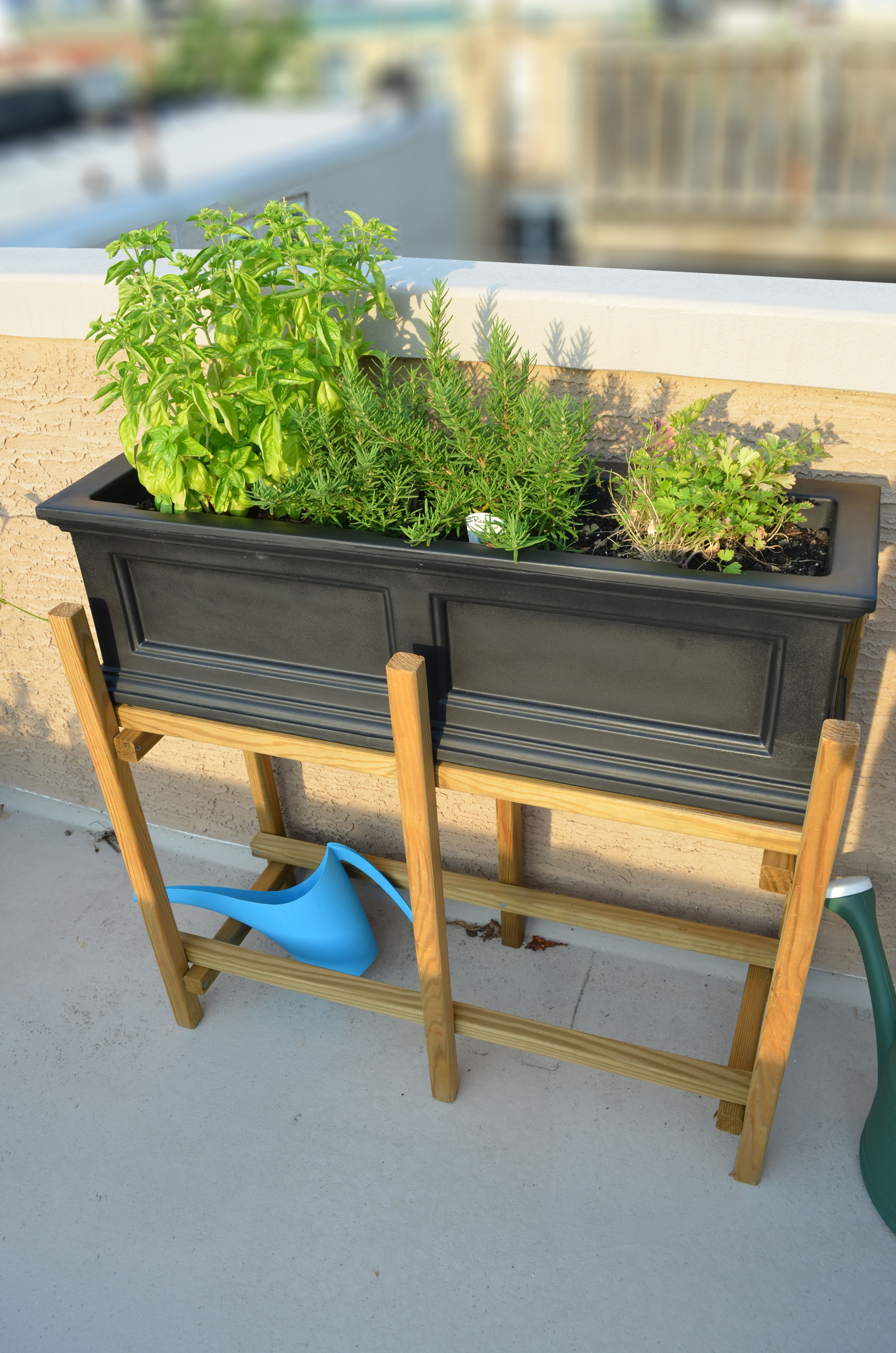 Herb Garden In A Homemade Planter Box Stand With Images