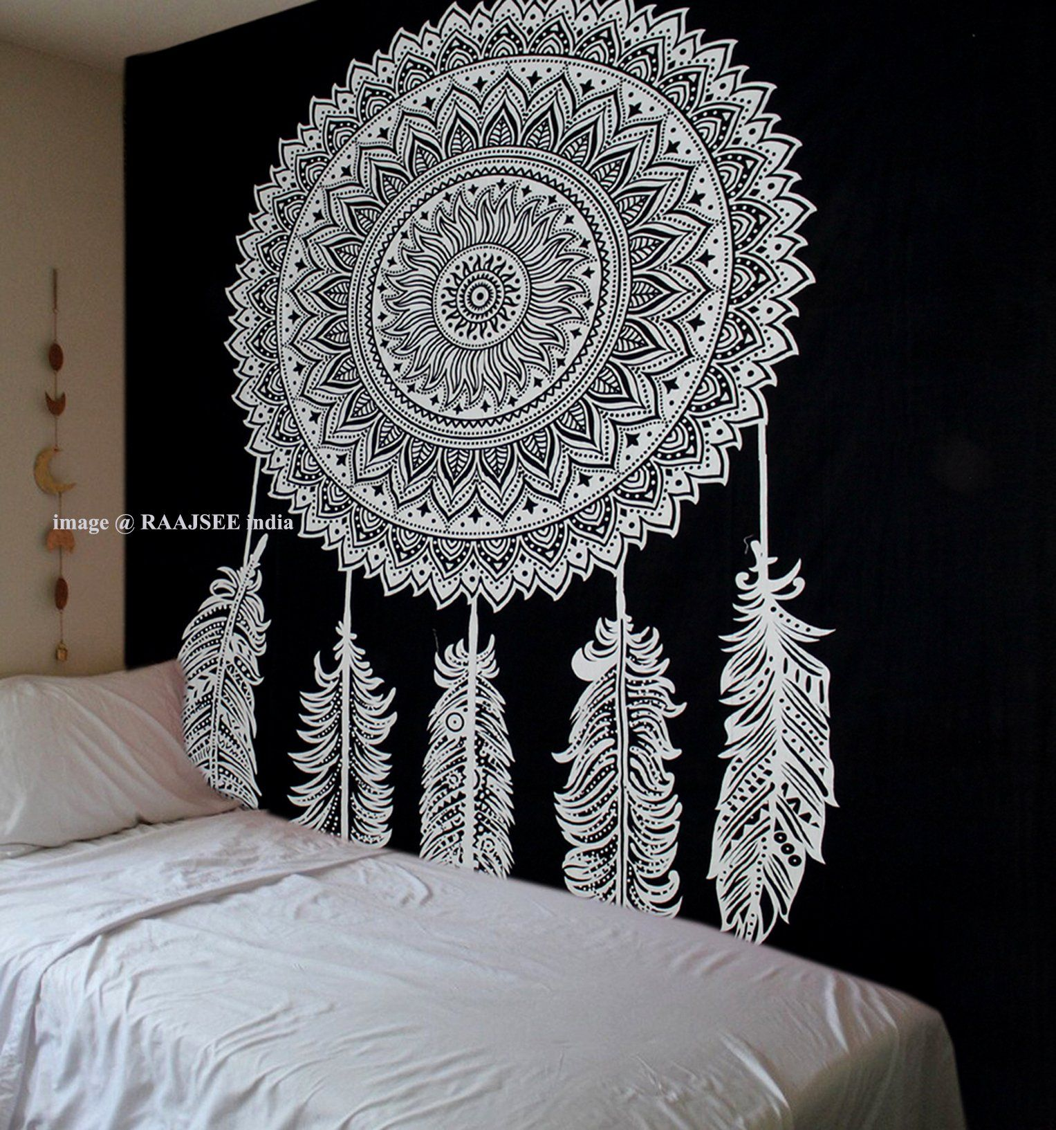 Tapestry Black And White Dream Catcher Mandala Cotton Wall Hanginghippie