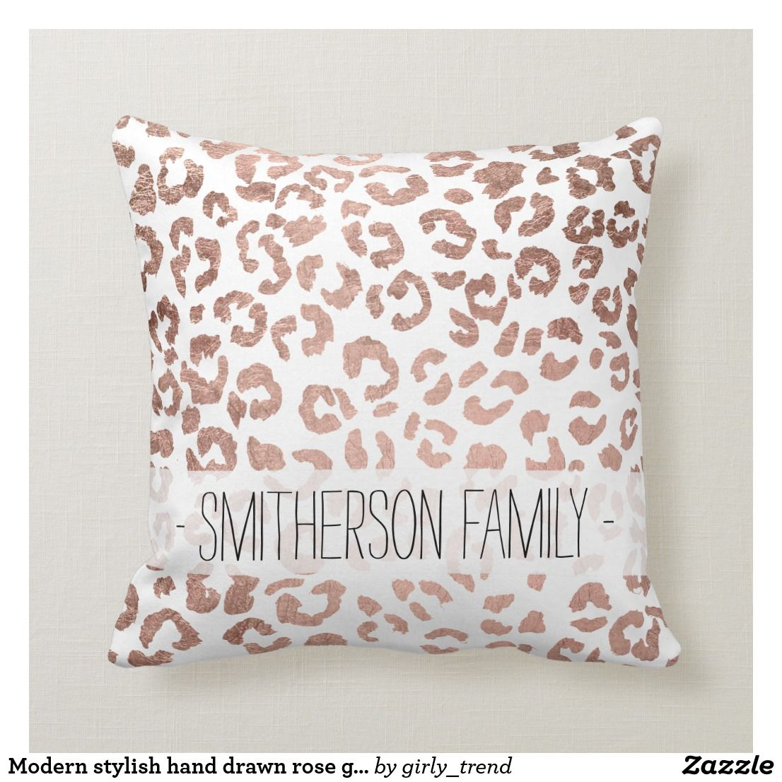 Modern Stylish Hand Drawn Rose Gold Leopard Print Throw Pillow Zazzle Com Throw Pillows Printed Throw Pillows Pillows