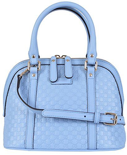 6f9eae5d019 Gucci Women s Micro GG Leather Convertible Mini Dome Purse (Baby Blue)