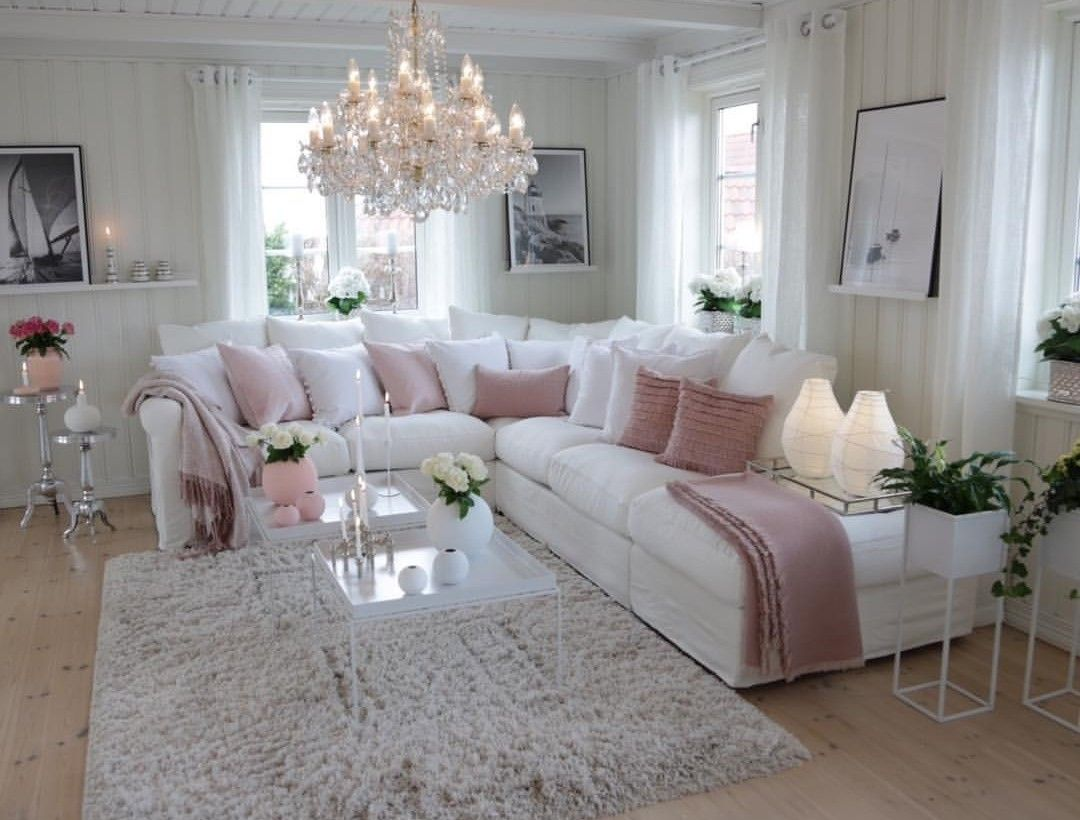 Pink White Lr Romantic Living Room Living Room Designs