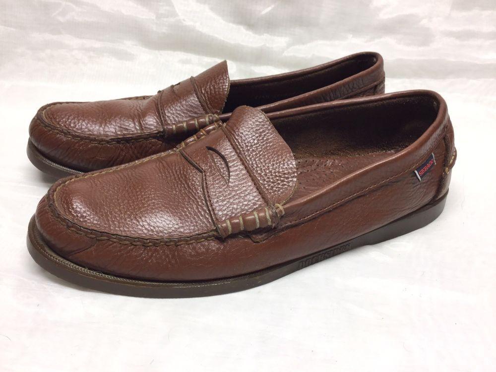 f18227ff955 Sebago Docksides Mens Classic Leather Penny Loafers Brown Sz 11.5 US 46 EU   fashion
